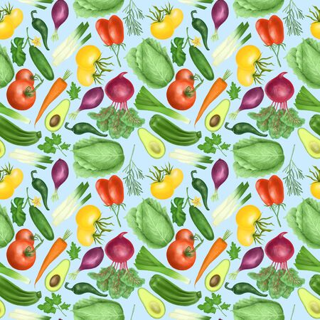 Seamless pattern with organic vegetables (tomatos, carrot, beetroot, purple onion, avocado, cucumber, zucchini, leek, cabbage, parsley, rosemary), hand drawn on a blue background