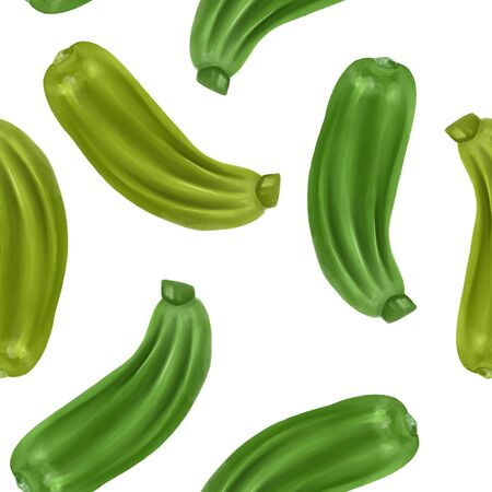 Seamless pattern with zucchinis, hand drawn on a white background