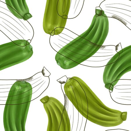 Seamless pattern with zucchinis, hand drawn in sketch style on a white background