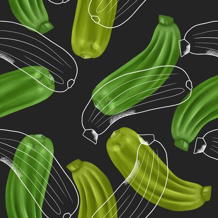 Seamless pattern with zucchinis, hand drawn in sketch style on a dark background
