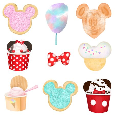 Cartoon sweets illustration (cookies, cotton candy, ice cream), hand drawn isolated in a white background