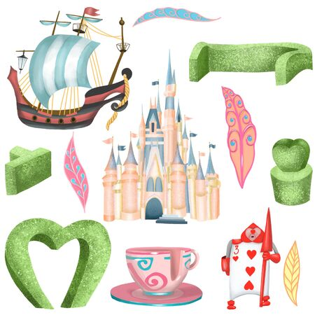 Illustration set with isolated elements of amusement park, hand drawn on a white background, attributes of magic kingdom park
