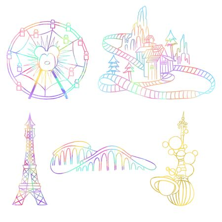 Illustration set with watercolor elements of amusement park, hand drawn isolated on a white background, carousels and attractions of magic kingdom park Stockfoto