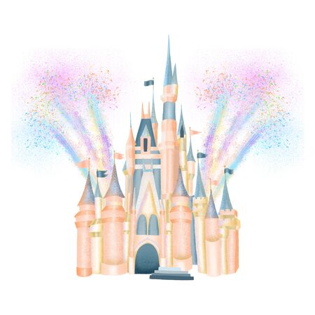 Pink fabolous castle of princess in fireworks, magic kingdom attribute, hand drawn isolated illustration on a white background