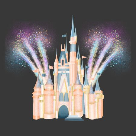 Pink fabolous castle of princess in fireworks, magic kingdom attribute, hand drawn isolated illustration on a dark background