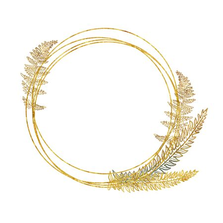 Golden round frame with hand drawn golden tropical fern branches and leaves on white