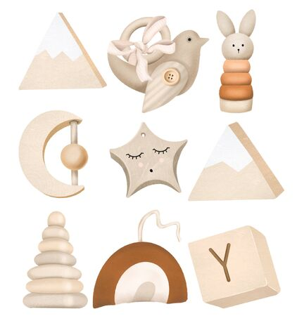 Set of wooden toys for kids, isolated elements on a white