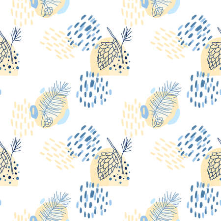 Seamless pattern of hand drawn forest plants (pine cones and branches) and abstract elements in pastel blue and creamy colors on white background