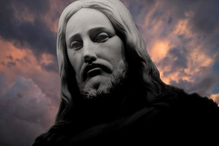 jesus face: Christ-Thundering Clouds Stock Photo