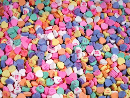 amore: Candy Hearts-Field Stock Photo