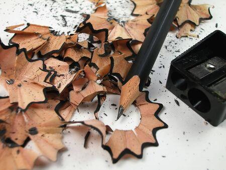 shavings: Black Pencil with Shavings Stock Photo