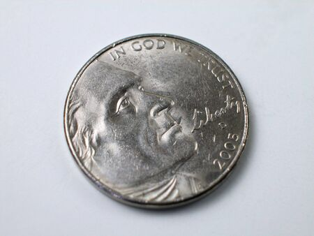 Macro shot of a Thomas Jefferson nickel from the United States Stock Photo - 2611582