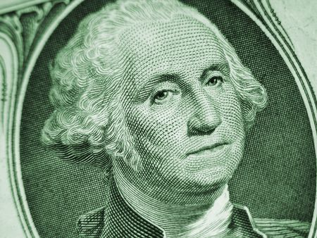greenback: One Dollar Bill-Washington on Slant Stock Photo