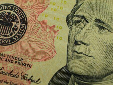 greenbacks: Ten Dollar Bill-Hamilton Stock Photo