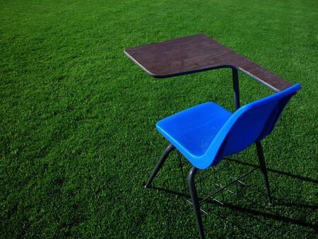 Student Desk on Football Field Stock Photo - 2781946