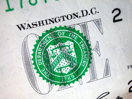 greenback: One Dollar Bill-Treasury Seal Stock Photo