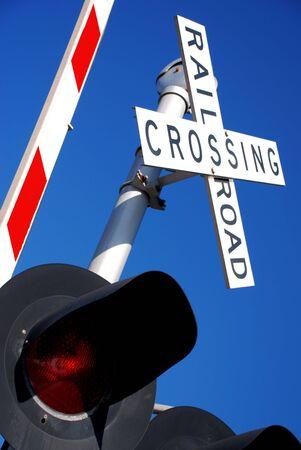 Rail Road Crossing Guard and Light Banco de Imagens