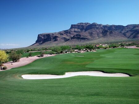 superstition: Golf Course with Superstition Mountains