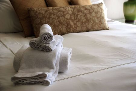 luxury hotel room: Luxury Hotel Room Bed with Towels