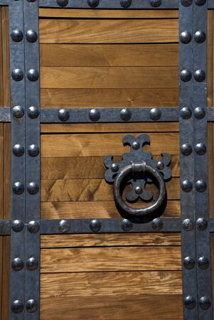rivets: Heavy Asian Style Fortress Door with Metal Rivets