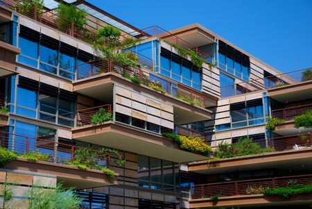 Apartment building or luxury condo with environmentally friendly hanging gardens