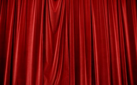 Closed Red Velvet Stage Curtains Stock Photo