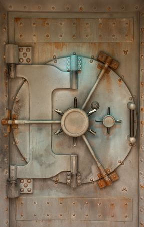 rivets: Old safe or vault door with rust stains