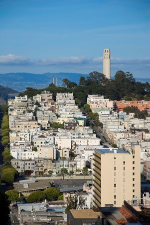 coit tower: Coit Tower, Bay Bridge and The Russian District