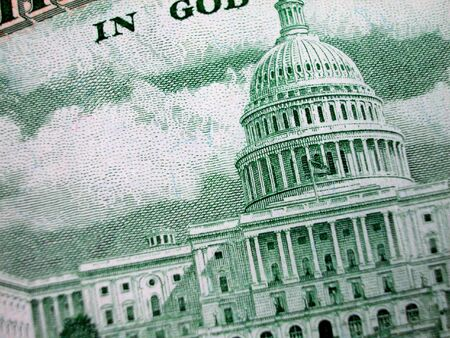 fifty dollar bill: Close up Shot of the US Capital Building on Fifty Dollar Bill