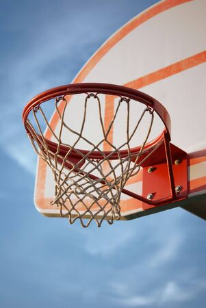 Close up of a faded basketball hoop and standard Stok Fotoğraf