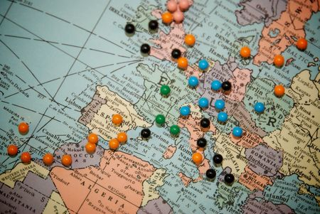 Travel Map with Push Pins with Focus Centered on Central Europe