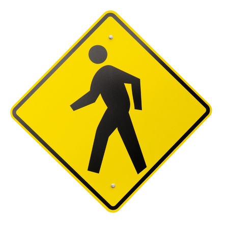 pedestrian sign: A yellow safety or warning sign for pedestrians walking isolated on a white background