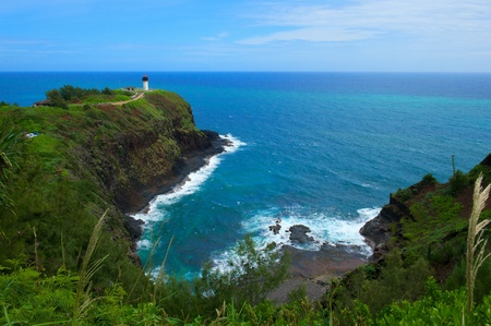 This is a shot of the white lighthouse on the Hawaiian island of Kauai