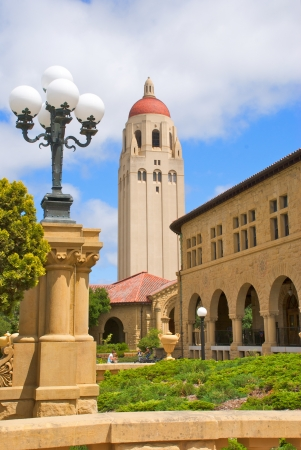 Hoover Tower at Stanford University is flanked by the Collonade and a lamp post