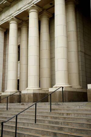 neoclassical: Two Rows of Neoclassical Columns with Steps Stock Photo