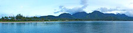 A panoramic shot of Hanalei Bay on the Island of Kauai in Hawaii Stock Photo