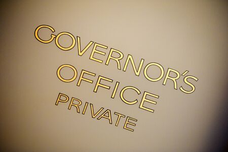 governor: Old, hand painted lettering on the governor