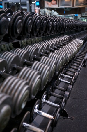 free weight: Image of a full weight rack for free weights at a commercial gym