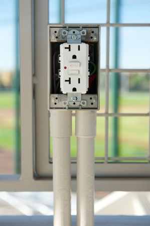 installed: White electrical outlet with GFCI just after it was installed