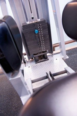 selector: Black and white image of the weight or resistance selector on professional exercise equipment at a commercial gym Stock Photo