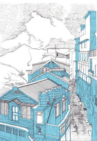 narrow street: Drawing of a street in mountains Stock Photo
