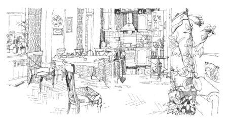 inside house: Sketch of a kitchen