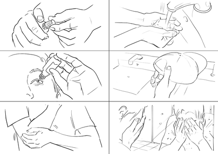 storyboard: Hands gestures storyboards Stock Photo