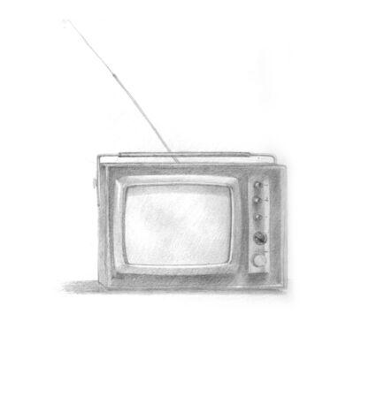 retro tv: Pencil hand drawing of a retro tv
