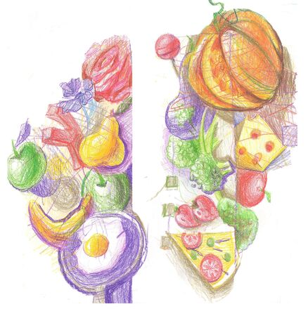 Colorful illustration of fruits vegetables and other food