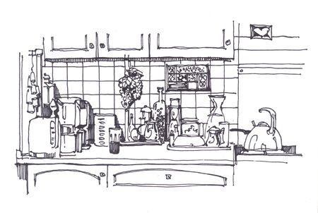 homeware: Kitchen still in ink with different homeware
