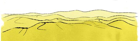 Illustration of landscape with dunes Banco de Imagens