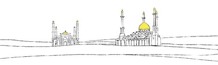 Illustration of mosque in dunes