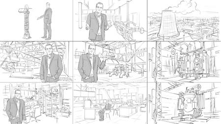 男と産業インテリア ストーリー ボード