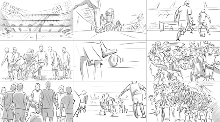 Storyboard with soccer players on a stadium Banque d'images